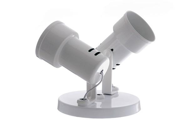 Spot de Sobrepor em Alumínio para 2 Lâmpadas Bocal com Aro Branco - Auremar