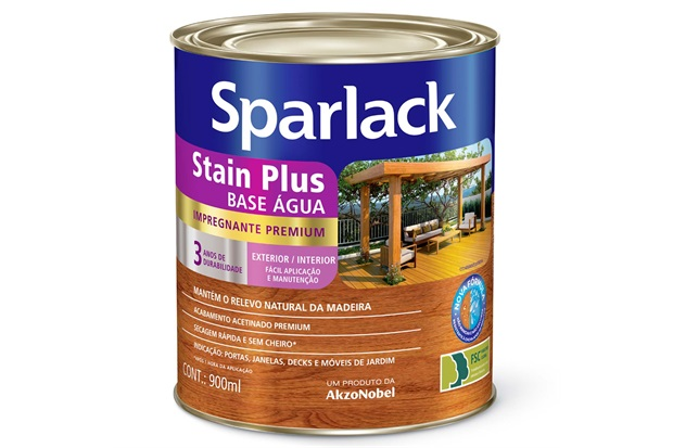 Stain Premium Acetinado Plus a Base D'Água Mogno 900ml - Sparlack