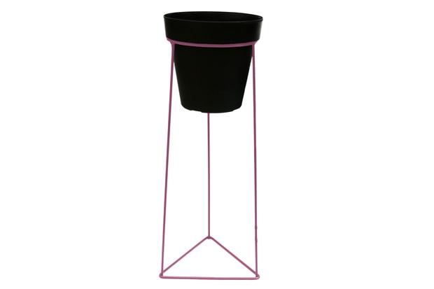 Suporte Triangular em Ferro 52x18cm Rosa do Deserto - Brilia