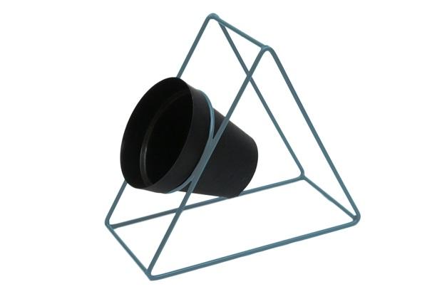 Suporte Triangular para Parede em Ferro 24cm Azul Vintage - Brilia