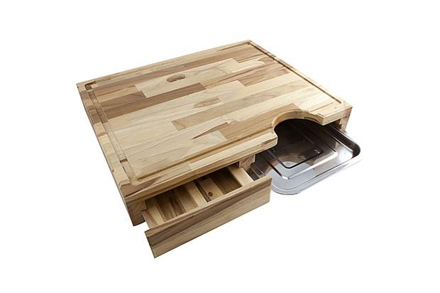 Tábua para Corte E Servir em Madeira com Gaveta 35,5x41,5cm Natural - PrimeWood