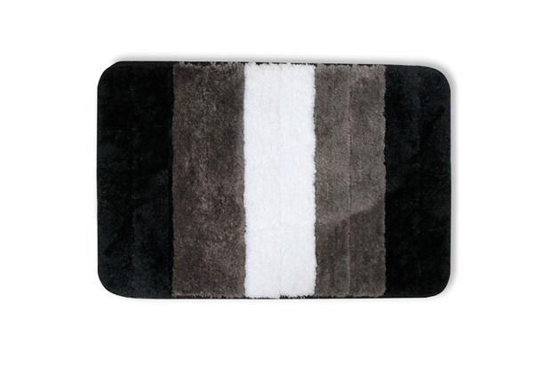 Tapete de Banheiro em Microfibra 40x60cm Preto, Cinza E Branco - Casanova