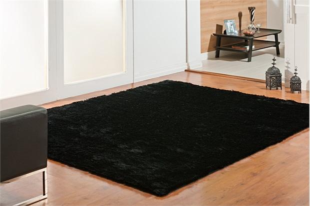 Tapete em Poliéster Silk Shaggy 50x100cm Preto - Niazitex