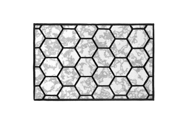 Tapete para Cozinha Mármore Hexagonal 50x75cm Cinza - Kapazi
