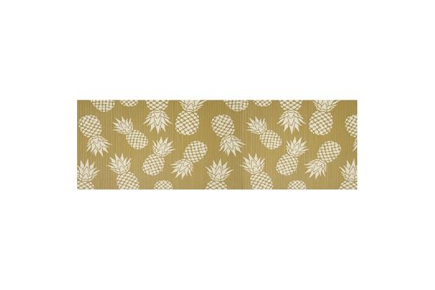 Tapete para Cozinha Tropical Abacaxi 43x130cm Dourado - Kapazi