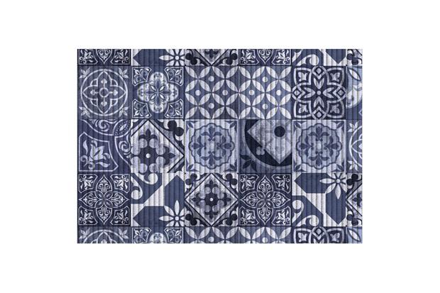 Tapete para Cozinha Tropical Azulejo 43x65cm Azul - Kapazi