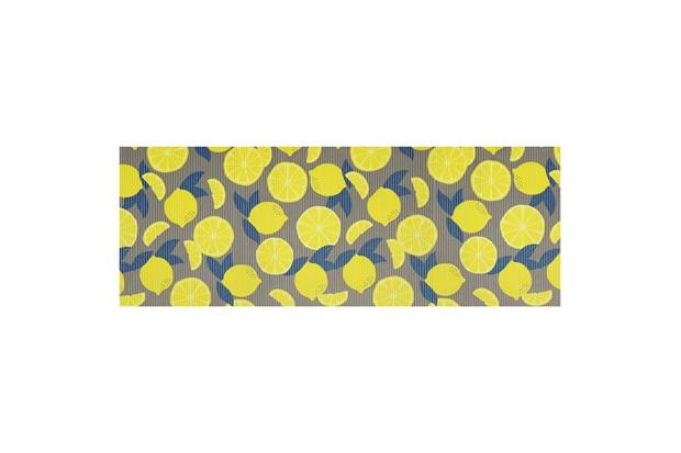 Tapete para Cozinha Tropical Limões 43x130cm Cinza - Kapazi