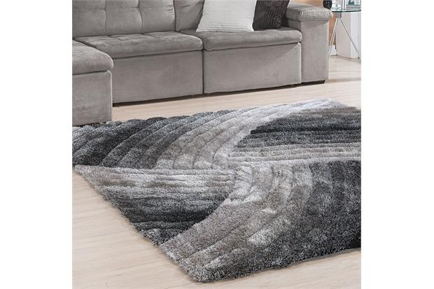 Tapete Silk em Poliéster Himalaya 3d Curvas com 140x200cm Preto - Niazitex