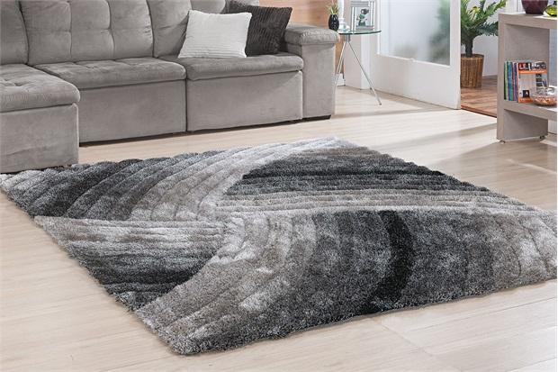Tapete Silk em Poliéster Himalaya 3d Curvas com 200x250cm Preto - Niazitex