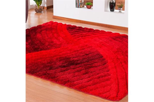 Tapete Silk em Poliéster Himalaya 3d Curvas com 200x250cm Vermelho - Niazitex