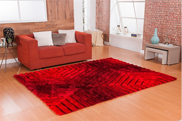 Tapete Silk em Poliéster Himalaya 3d Retas com 200x250cm Vermelho - Niazitex