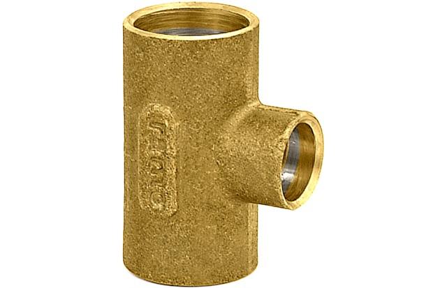 Tê em Latão de Redução com Solda 28x22x28mm Dourado - Ramo Conexões