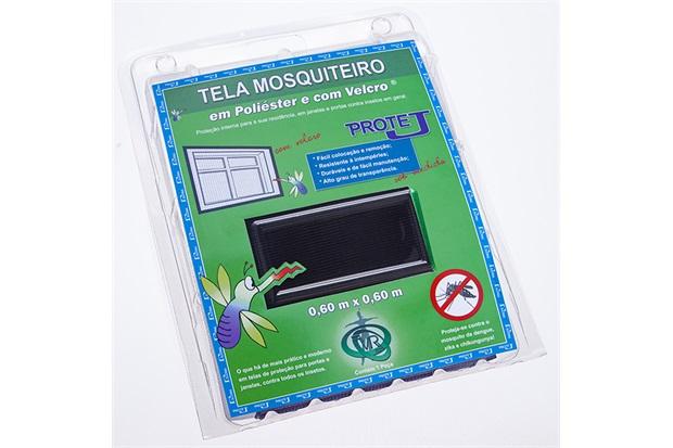Tela Mosquiteiro em Poliéster Protej com Velcro 60x60cm Preta - Protej