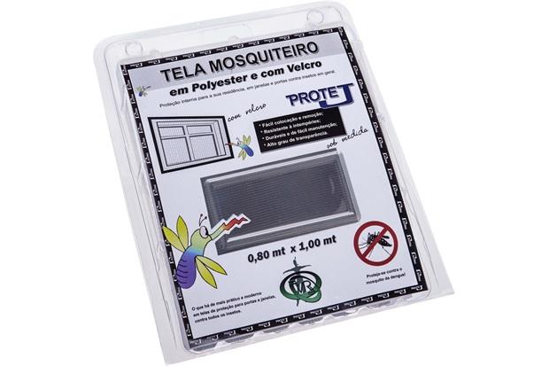 Tela Mosquiteiro em Poliéster Protej com Velcro 80x100cm Cinza - VR