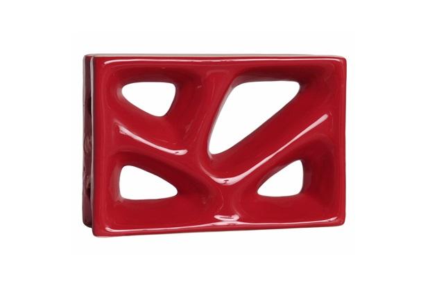 Tijolo Vazado Cobogó  23x16x8 Rama Esmaltado Vermelho - Cerâmica Martins