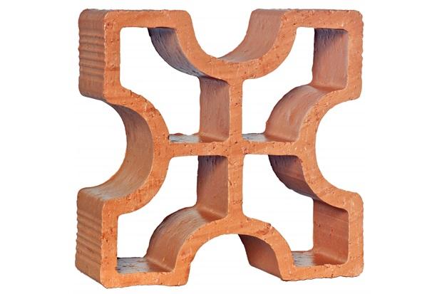 Tijolo Vazado em Cerâmica Cobogó Reto Cruz 18x18x7cm - Cerâmica Martins