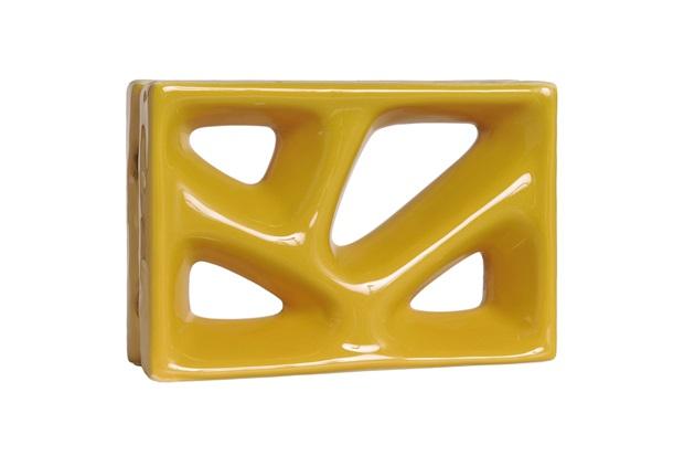 Tijolo Vazado Esmaltado Cobogó Folha 23x16x8cm Amarelo - Cerâmica Martins
