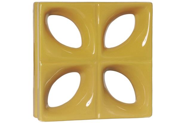 Tijolo Vazado Esmaltado Cobogó Folha 25x25x8cm Amarelo - Cerâmica Martins