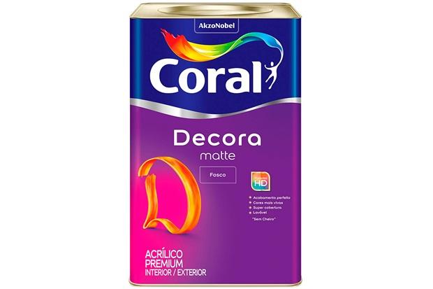 Tinta Acrílica Premium Fosca Decora Matte Branco 18 Litros - Coral