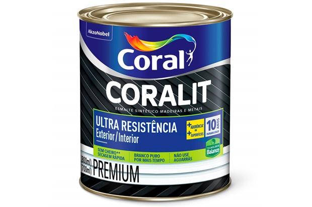 Tinta Esmalte Premium Brilhante Coralit Ultra Resistência Cinza Médio 800ml - Coral