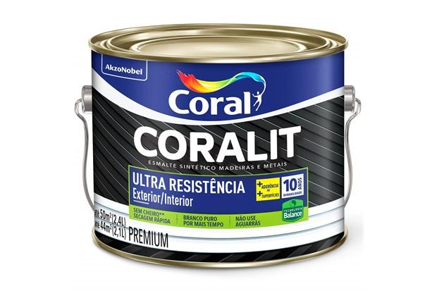 Tinta Esmalte Premium Brilhante Coralit Ultra Resistência Preto 2,4 Litros - Coral
