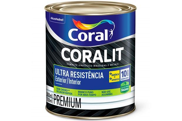 Tinta Esmalte Premium Brilhante Coralit Ultra Resistência Preto 800ml - Coral
