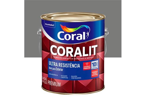 Tinta Esmalte Sintético Premium Brilhante Coralit Tradicional Cinza Médio 3,6 Litros - Coral