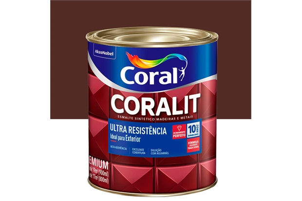 Tinta Esmalte Sintético Premium Brilhante Coralit Tradicional Marrom 900ml - Coral