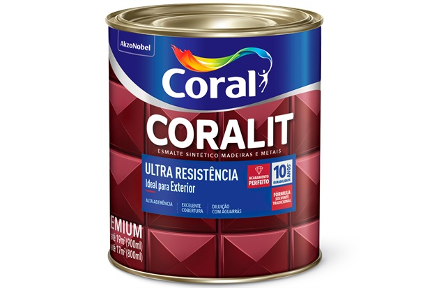 Tinta Esmalte Sintético Premium Brilhante Coralit Tradicional Platina 900ml - Coral