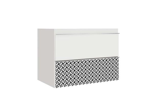Toucador Blu sem Lavatório com Gaveta Mosaico Branco 80cm  - Bumi Móveis