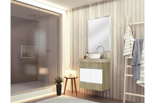 Toucador Slim 60 Wood com Lavatório Travertino para Cuba de Apoio E Espelho Bisotê Blu - Bumi Móveis
