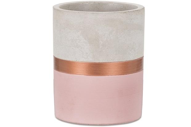 Vaso em Cimento 11x9cm Rosa E Cobre - Mart