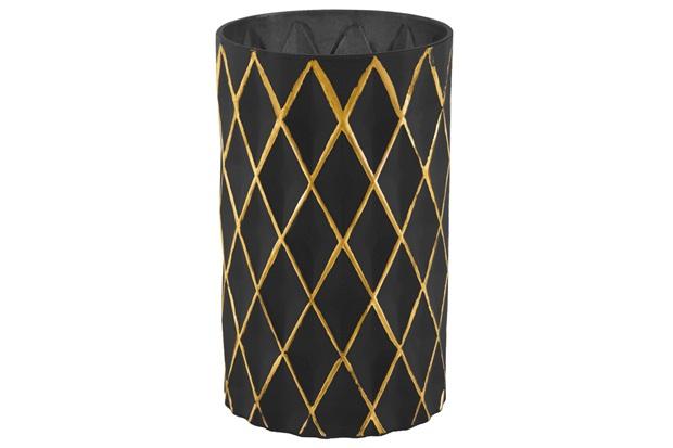 Vaso em Vidro 20x12cm Preto E Dourado - Mart