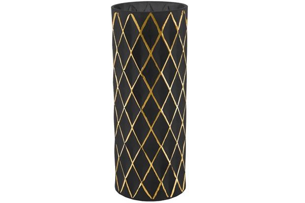 Vaso em Vidro 30x12cm Preto E Dourado - Mart