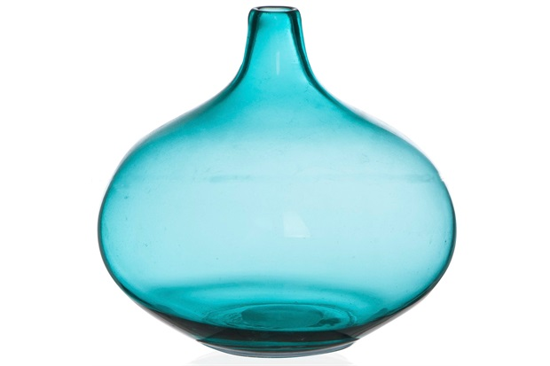 Vaso em Vidro Fortune 21cm Azul Turquesa - Casa Etna