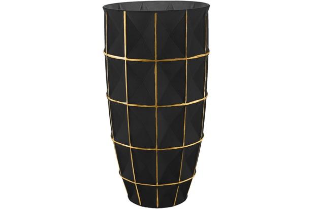 Vaso em Vidro Grande 32x16cm Dourado E Preto - Mart