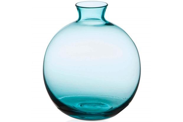 Vaso em Vidro Malaga Azul Turquesa 13cm - Casa Etna