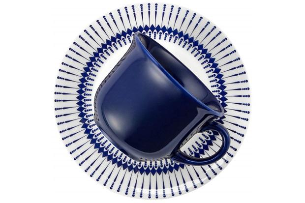 Xícara de Café Actual Colb com Pires 65ml Azul E Branco - Biona