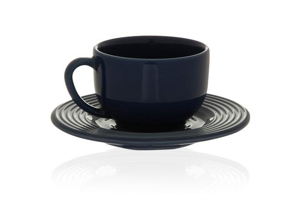 Xícara de Café com Pires em Cerâmica Argos Azul - Casa Etna