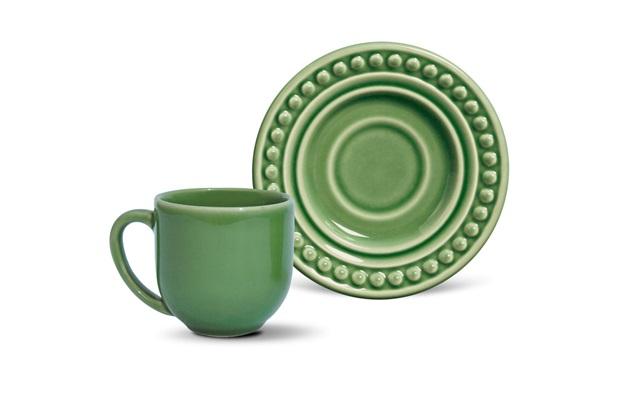 Xícara de Café com Pires em Cerâmica Atenas Verde Sálvia - Porto Brasil Cerâmica