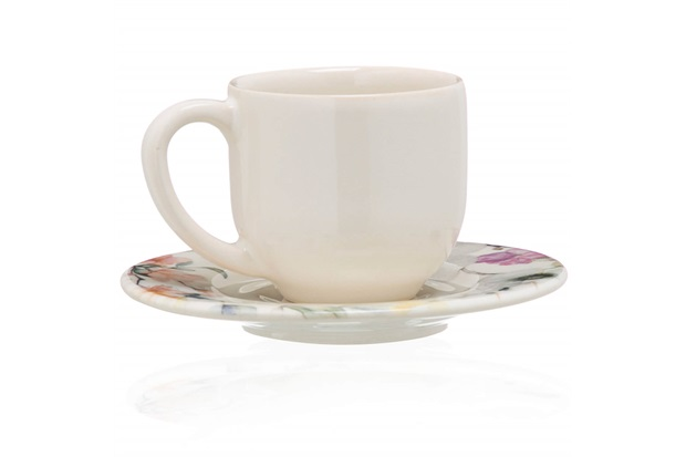 Xícara de Café com Pires em Cerâmica Floreale Colorido - Casa Etna