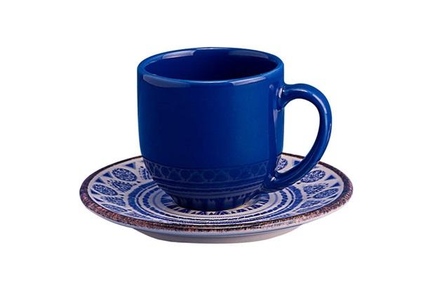 Xícara de Café com Pires em Cerâmica Navajo Azul - Casa Etna