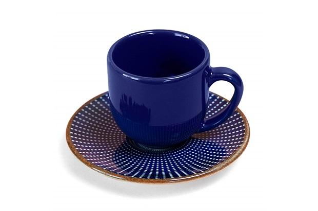 Xícara de Café com Pires em Cerâmica Target Azul - Casa Etna