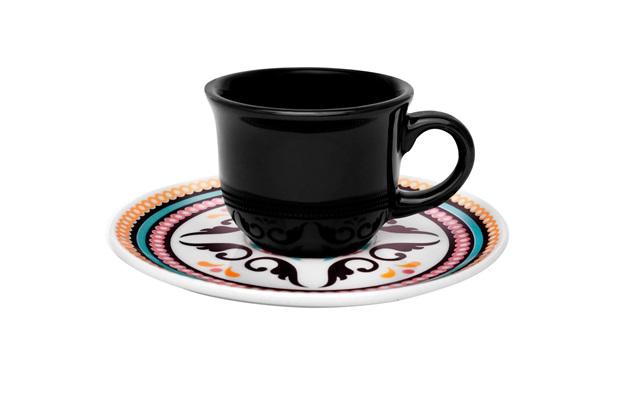 Xícara de Café com Pires Floreal Luiza 75ml - Oxford