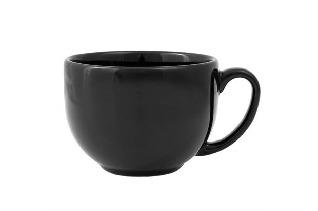 Xícara de Chá com Pires em Cerâmica Aquarelle Boho Black - Copa & Cia