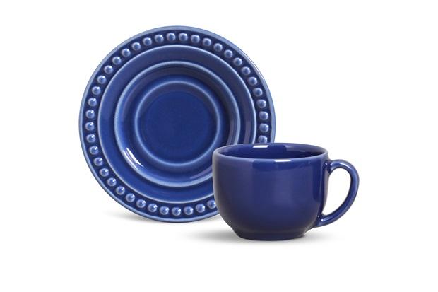 Xícara de Chá com Pires em Cerâmica Atenas Azul Navy - Porto Brasil Cerâmica