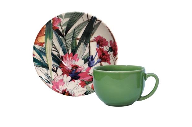 Xícara de Chá com Pires em Cerâmica Coup Vitae - Porto Brasil Cerâmica