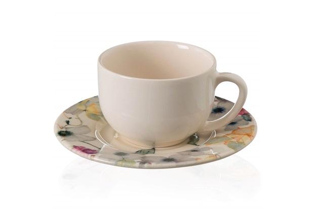 Xícara de Chá com Pires em Cerâmica Floreale Colorido - Casa Etna