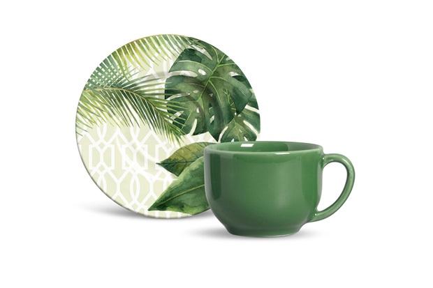 Xícara de Chá com Pires em Cerâmica Mônaco Travattura - Porto Brasil Cerâmica