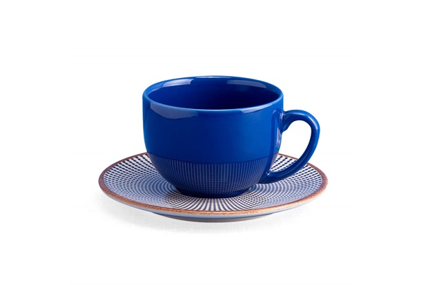 Xícara de Chá com Pires em Cerâmica Target Azul - Casa Etna